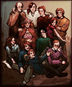 The Weasley Family.  Right to left:  Arthur, Bill, Ron, Charlie, (second row) Molly, Harry, Ginny, Hermione, George, (sobs) Fred, and Percy