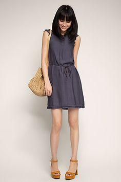 Esprit / Flowing dress with glittering braided belt