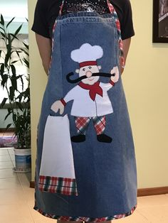 Christmas Apron - Ladies Apron - Christmas Gift - Apron for Women - Holiday Apron - Gift for Mom Jean Crafts, Denim Crafts, Jean Apron, Christmas Aprons, Denim Ideas, Sewing Aprons, Recycle Jeans, Plus Size Blouses, Dressmaking