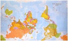 Wereldkaart ondersteboven