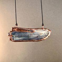 large blue kyanite blade pendant copper electroformed