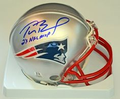 Tom Brady 2x MVP Signed and Inscribed Patriots Mini Helmet Autographed New England Autograph . $124.95. Tom Brady Autographed and Inscribed (2x NFL MVP) New England Patriots Mini NFL Football Helmet.. Save 69% Off!