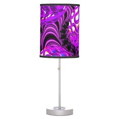 Violet Sea Dance, Abstract Purple Bubbles Table Lamps $44.95