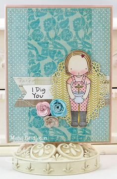 Pure Innocence Little Gardener; Mini Rolled Roses Die-namics; Oval Decorative Doily Duo Die-namics; Fishtail Flags STAX Die-namics - Mona Pendleton