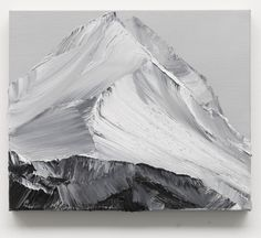 "Abstract black and white painting, mountains, ""o.t. 14"" by Conrad Jon Godly, 2013 www.conradjgodly.com"