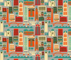 Another nice city fabric that is convincing me I should make a Toronto one. My Fair Milwaukee fabric by acbeilke on Spoonflower - custom fabric