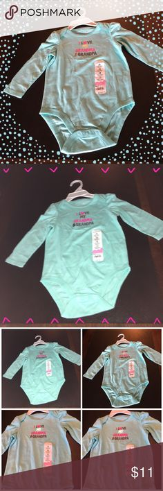 """One Piece Baby Outfit Long sleeve one piece  bodysuit has the cutest saying. """" I Love my Grandma & Grandpa"""". By Jumping Beans!  100% cotton. Jumping Beans One Pieces Bodysuits"""