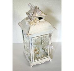 Wedding 10in Lantern Centerpiece Vintage Antique Ivory ... | Homey th…