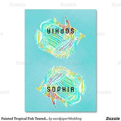 Tropical fish, artistic tented place cards with name templates.  Seat guests at a casual wedding reception, or use for any type of  summer party.  Fold in half after purchase, but add names one at a time before buying.