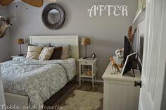 "Coastal guest bedroom makeover using Sherwin-Williams ""Alpaca""."