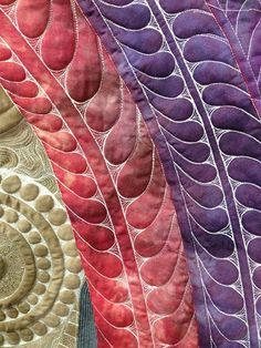 Over-the-top quilted feathers in the Dream Goddess Quilt by Leah Day. Read more about it here: http://freemotionquilting.blogspot.com/2015/08/quilting-dream-goddess-part-2.html