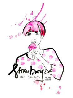 Fashion Illustration with Ink and Watercolor Mein Portfolio, Strawberry Ice Cream, Watercolor Fashion, Lettering, Beautiful Words, Dots, Ink, Illustration, Poster