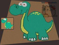 (4) Name: 'Crocheting : Mister Dinosaur C2C Graph
