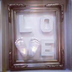 LOVE baby foot casts framed in a vintage silver frame. #babycast #vintage #feet www.birdsbabyboutique.co.uk