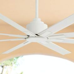 A wet ceiling fan featuring a flat white finish motor and eight white finish ABS blades. Eight white finish ABS blades. Style # at Lamps Plus. Large Ceiling Fans, White Ceiling Fan, Best Ceiling Fans, Bronze Ceiling Fan, Outdoor Ceiling Fans, Ceiling Height, Transitional Ceiling Fans, Contemporary Ceiling Fans