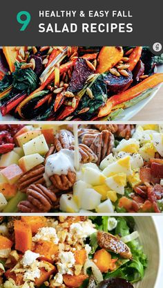 9 Healthy and Easy Fall Salad Recipes – great to take for… 9 gesunde und einfache Fall-Salat-Rezepte – toll zum Mittagessen Easy Salads, Healthy Salad Recipes, Healthy Snacks, Lunch Recipes, Healthy Cooking, Healthy Eating, Cooking Recipes, Fall Salad, Living At Home