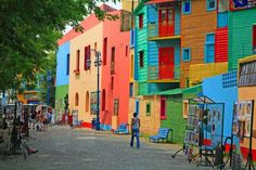 Multicolored houses in the Caminito Street, Buenos Aires, Argentina.