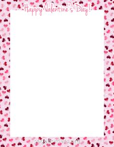 "Printable ""Happy Valentine's Day"" border. Use the border in Microsoft Word or other programs for creating flyers, invitations, and other printables. Free GIF, JPG, PDF, and PNG downloads at http://pageborders.org/download/happy-valentines-day-border/"