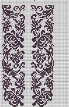 Beading _ Pattern - Motif / Earrings / Band ___ Square Sttich or Bead Loomwork ___ Filet Crochet, Crochet Borders, Cross Stitch Borders, Crochet Diagram, Cross Stitch Charts, Cross Stitch Designs, Cross Stitching, Cross Stitch Embroidery, Counted Cross Stitch Patterns