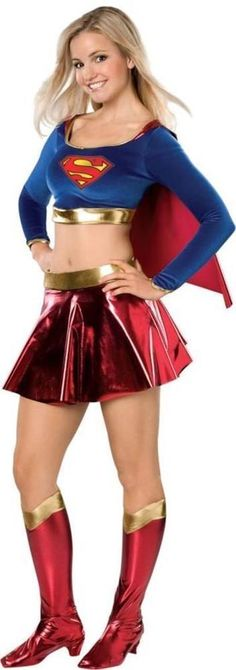 Supergirl Kara Superhero Cosplay Costume Outfit Full Set All Size Halloween  FF