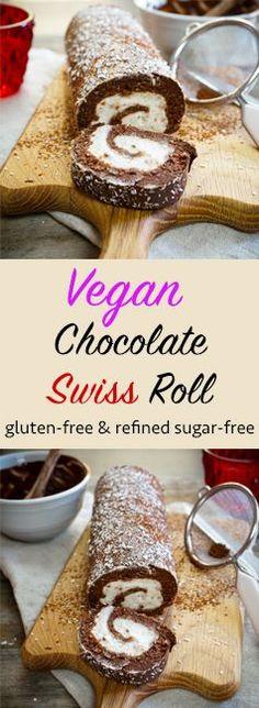 Vegan Chocolate Swiss Roll   gluten-free & refined sugar-free