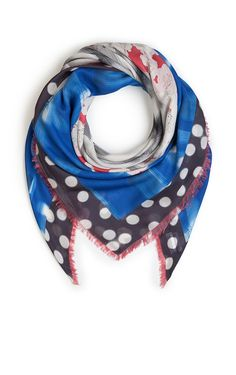 Add a whimisical edge to your look with this multi-print scarf from ESCADA Sport. Treated with cashmere and accented with a polka dot, floral and striped pattern and a logo print. Style the fringed accessory wilth a T-shirt and leather jacket on the weekend.#Multi print design|Fringed ends|Measures 140x140cm