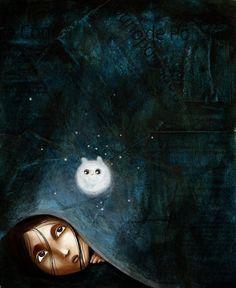 Blauwe nacht - blue night - #tzolkin - You are your own save haven (Justine Brax  _ illustration _ artodyssey)