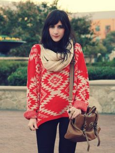 bright oversized sweater + neutral scarf + brown purse = cozy cute