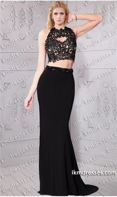 amazing beaded lace embroidered open back formal two piece dress Black Dresses