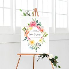 Bright Floral Welcome Sign, Wedding Welcome Sign, Bright Wedding, Pink yellow orange, Floral Welcome Sign, Welcome Poster, Printed