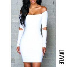 #Luvyle - #Luvyle Round Neck Plain Long Sleeve Bodycon Dresses - AdoreWe.com