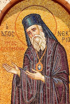 Memorial to Ayios (Saint) Nektarios who died on Aegina Island in Greek Saronic Islands Byzantine Icons, Byzantine Art, Pictures Of Christ, Pictures Images, Paintings Of Christ, Greek Icons, Jesus Christus, Religious Icons, Ancient Ruins