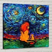 Wish   Art Canvas paintings, Lion King  - Starry Night  Saw The Sahara , home decor print no frame