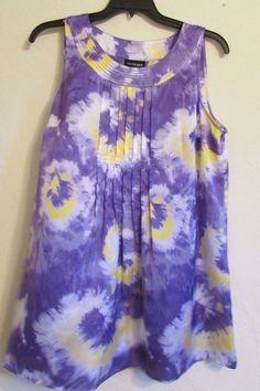 Lane Bryant Tie Died  Purple Yellow White Tunic Top Shirt NWOT Size 16 #LaneBryant #Tunic
