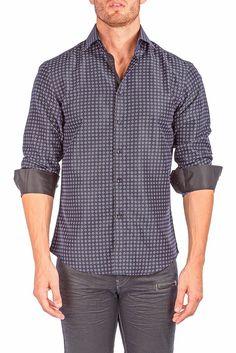 162547 - Black Button Up Long Sleeve Dress Shirt