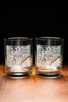 Miami College Town Rocks Glass Set
