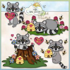 Raccoon Valentine 1 - NE Angie Wenke Clip Art : Digi Web Studio, Clip Art, Printable Crafts & Digital Scrapbooking!