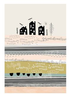 Helemaal blij wordt IPPYS van de collectie van Paper Moon. Deze poster Sussex Countryside heeft zachte kleuren en minimalistische illustraties. Gewoon prachtig!
