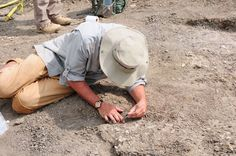 Museum Research Associate Jack Conrad excavates a fossil crocodile.     Photo courtesy of W. Harcourt-Smith.