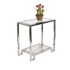 DOMINO N - 2 Tier Nickel Plated table w. clear glass tops.