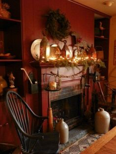 Primitive Christmas Decorated Fireplaces | So love this....the colors are gorgeous.....