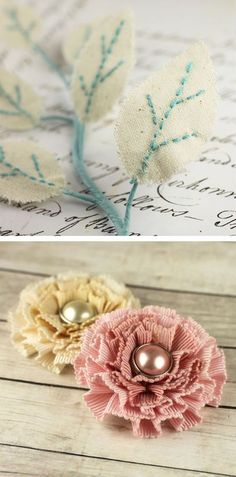 Prima Marketing Pixie Glen hand stitched leaves and pearl ruffled flowers