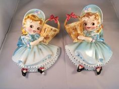 Vintage Pair of Lefton 1950's Dainty Miss Wall Pockets | Vintage Planters, Vintage Vases, Wall Vases, Beautiful Christmas Decorations, Flower Frog, Spring Has Sprung, Vintage Greeting Cards, Grits, Wall Pockets