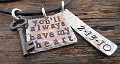 You'll always have my heart Leather by OrganicRustCreation on Etsy, $64.00