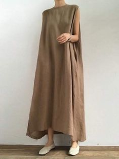 Simple Loose Split-side Sleeveless Long Dress in 2020 Tienda Fashion, Funky Dresses, Long Casual Dresses, Simple Long Dress, Dress Long, Khaki Dress, Mode Hijab, Cotton Style, Cotton Dresses