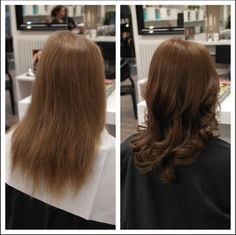 Tummat hiukset ennen ja jälkeen Salon Inkeri Savola