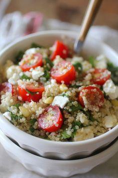 Tomato Spinach Feta Quinoa Salad
