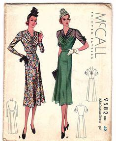 McCall 9582 | ca. 1938 Ladies' & Misses' Dress