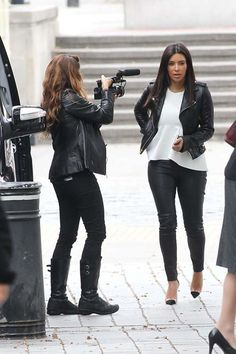 Look for Less: Kim Kardashian - Leather Jacket, White Peplum Top & leather Pants