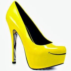 Neon Yellow Happy Face Smile High Heel Click the picture to ...